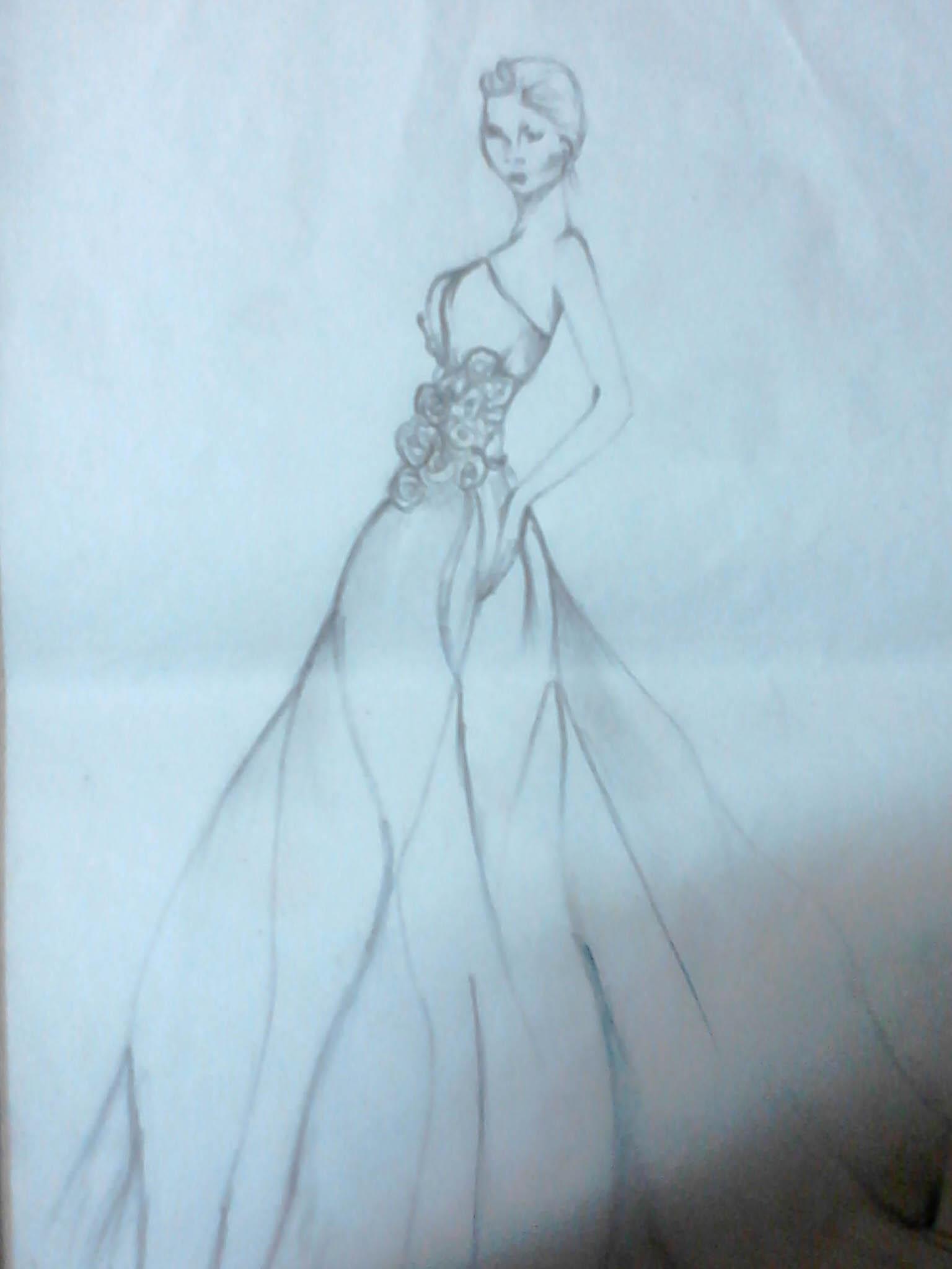 735dcf401 تصميم ازياء. 16.jpg. رسم فستان بالقلم الرصاص