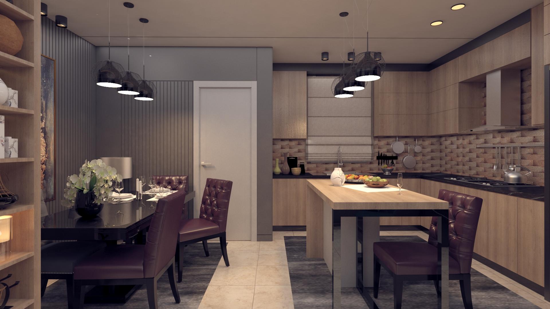 تصميم صالة معيشة مع طاولة طعام ومطبخ مستقل