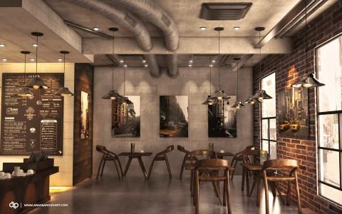تصميم داخلي 3D مودرن لمقهى