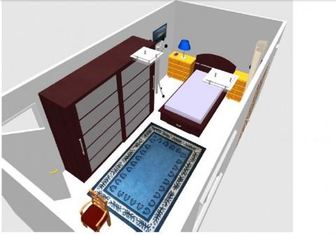 تصميم غرفة نوم ثنائية وثلاثية الأبعاد