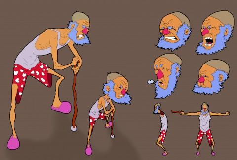 تصميم شخصية كرتونية لرجل عجوز