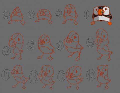 تصميمات 2D مختلفة لطائر في لعبة