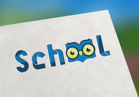 شعار school بتقنية فلات