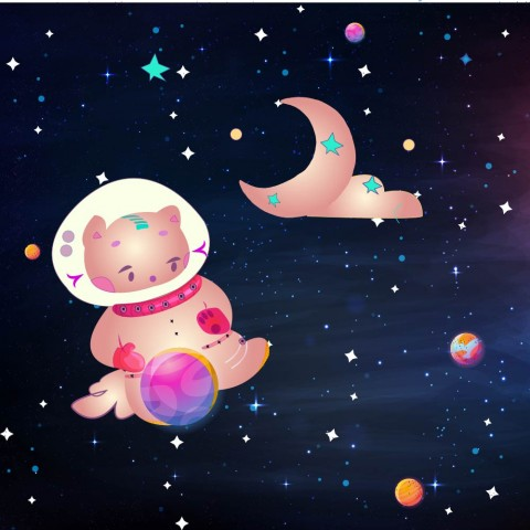 Cartoon in space