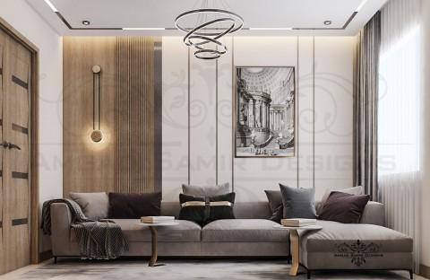 تصميم مودرن معاصر لغرفة معيشة بفيلا بالسعودية - الرياض
