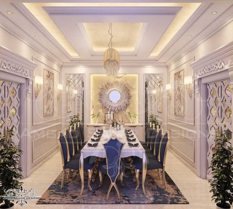 تصميم داخلي نيو كلاسيك لغرفة طعام بفيلا بالسعودية