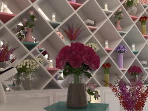 تصميم محل لبيع و تنسيق الزهور