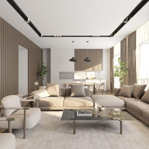تصميم غرفة معيشة مع مطبخ مفتوح