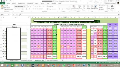 عمل ملفات الدرجات لمدرسة عالمية - MS Excel