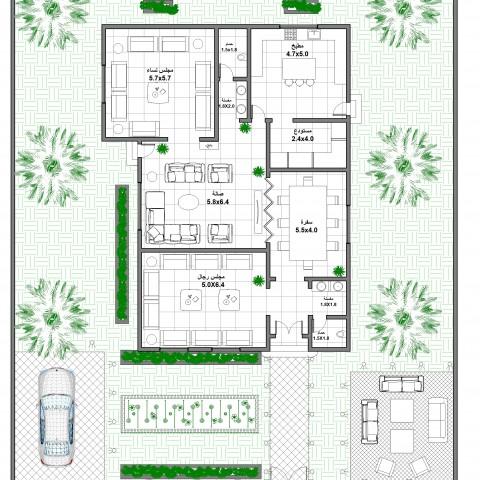 تصميم وتقسيم معماري لفيلا