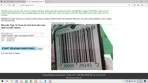website to read barcode from webcam