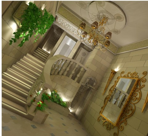تصميم كلاسيك لمدخل برج سكني
