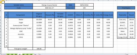 ملف حساب التركيزات والقيم الغذائية للمشروبات والعصائر أوتوماتيكياً