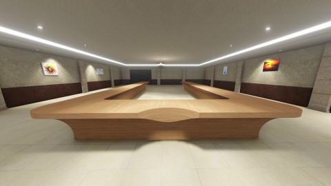 تصميم ثلاثي الابعاد لطاولة اجتماعات