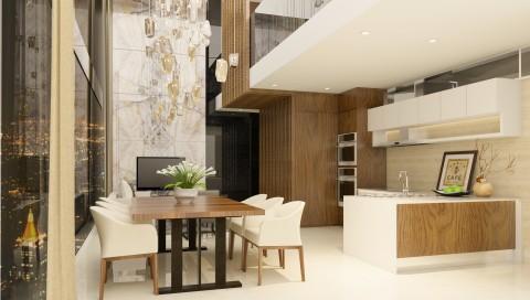 تصميم صالة طعام مع مطبخ