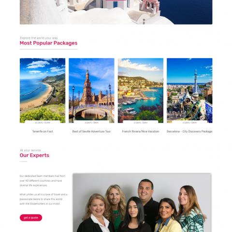 نموذج صفحة البداية Landing Page لموقع تعمل فى القطاع السياحى