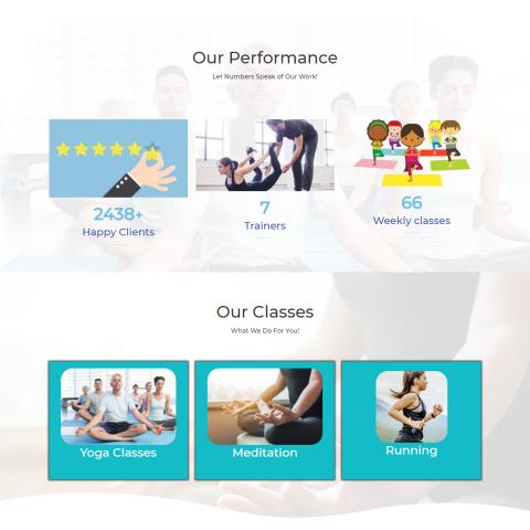 صفحة بداية احترافية لموقع تعليم رياضة اليوجا
