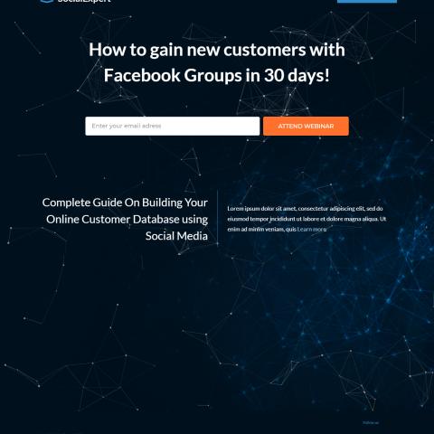 صفحة هبوط لتسويق منتج خاص بالتسويق فى مواقع التواصل الاجتماعى