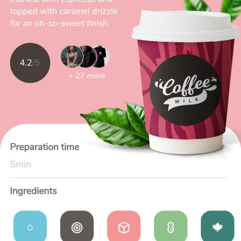 UI لتطبيق محل لبيع القهوة .