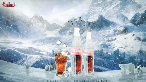 تصميم اعلاني / coca-cola ice