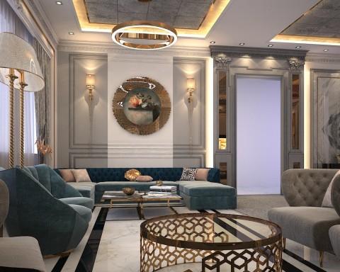 تصميم صالة استقبال لفيلا في الامارات