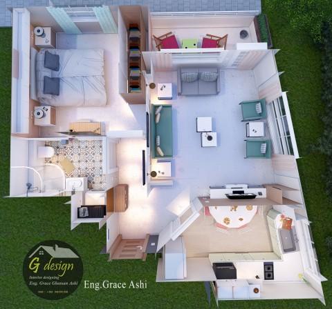 تصميم شقة سكنيةبمساحة  55m²