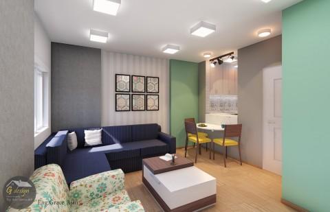 تصميم شقة سكنية بمساحة 42m²