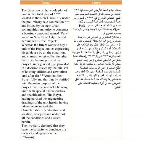 عينة ملف قانوني من العربية إلى الانجليزية