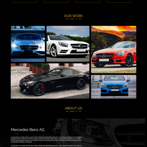 landing page for Mercedes car