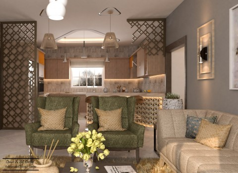 تصميم مطبخ وغرفة معيشة