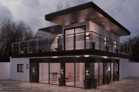 تصميم درج و شرفة خلفية لمنزل في بلجيكا