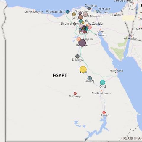 خريطة بيانية باستخدام برنامج PowerBI (التوزيع الجغرافي لعينة دراسة أكاديمية)