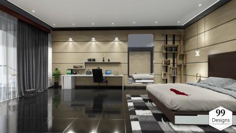 تصميم داخلي لجناح فندق 3 نجوم - suite d'hôtel