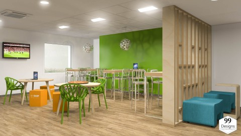 تصميم داخلي لحجرة طعام وإسترخاء ومدخل لشركة BASF في الجزائر