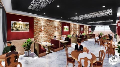 تصميم داخلي لمطعم عائلي لفندق 3 نجوم