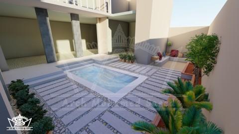 تصميم حديقة خارجية لفيلا بالسعودية