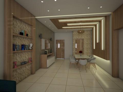 تصميم داخلي لغرفة جلوس & طعام