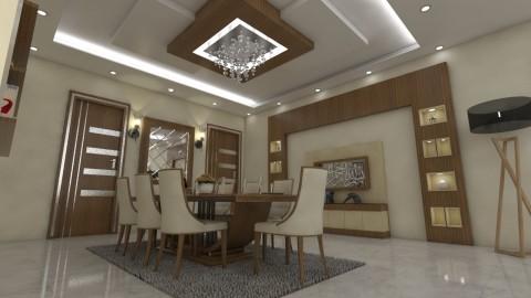 تصميم غرفة معيشة وسفرة