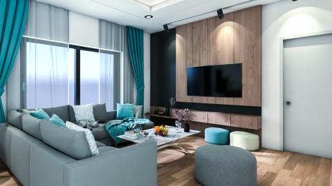 تصميم غرفة معيشة و مطبخ