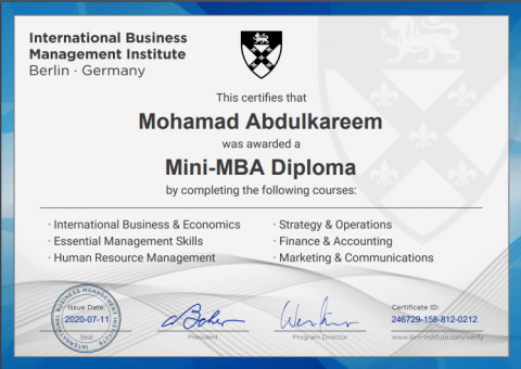 Mini-MBA certificate International Business Management Institute - Berlin, Germany