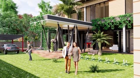 مشروع فيللا سكنية خاصة بجلسات خارجية وحدائق ولاندسكيب