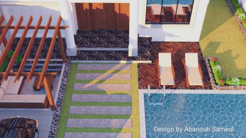 تصميم خارجى لفيلا شامل لاندسكيب وحمام سباحة