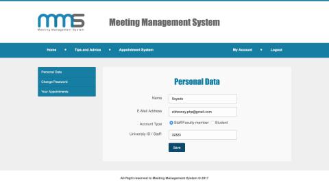 نظام المواعيد وتسجيل الحضور MMS