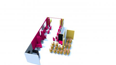 رسم ثلاثي الابعاد لكافية ومطعم سبازيو