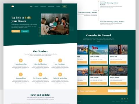 تصميم صفحة هبوط لشركة سفريات وحجز مقاعد تعليمية