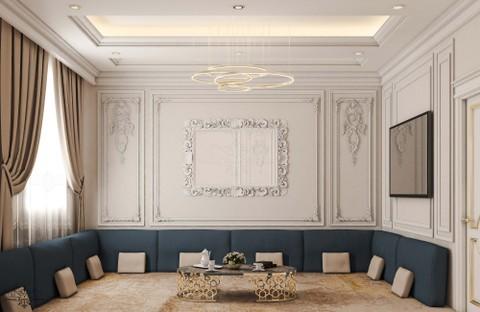 تصميم داخلي نيو كلاسيك لغرفة طعام ارضية  بفيلا  بالامارات