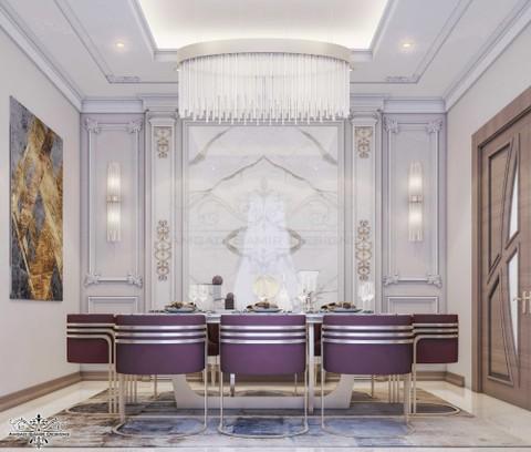 تصميم نيوكلاسيك مودرن لغرفة طعام فيلا بالرياض