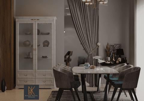 تصميم غرفة ريسبشن وغرفة طعام