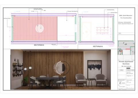 تصميم ومخططات تنفيذية لشقة خاصة بالمملكة
