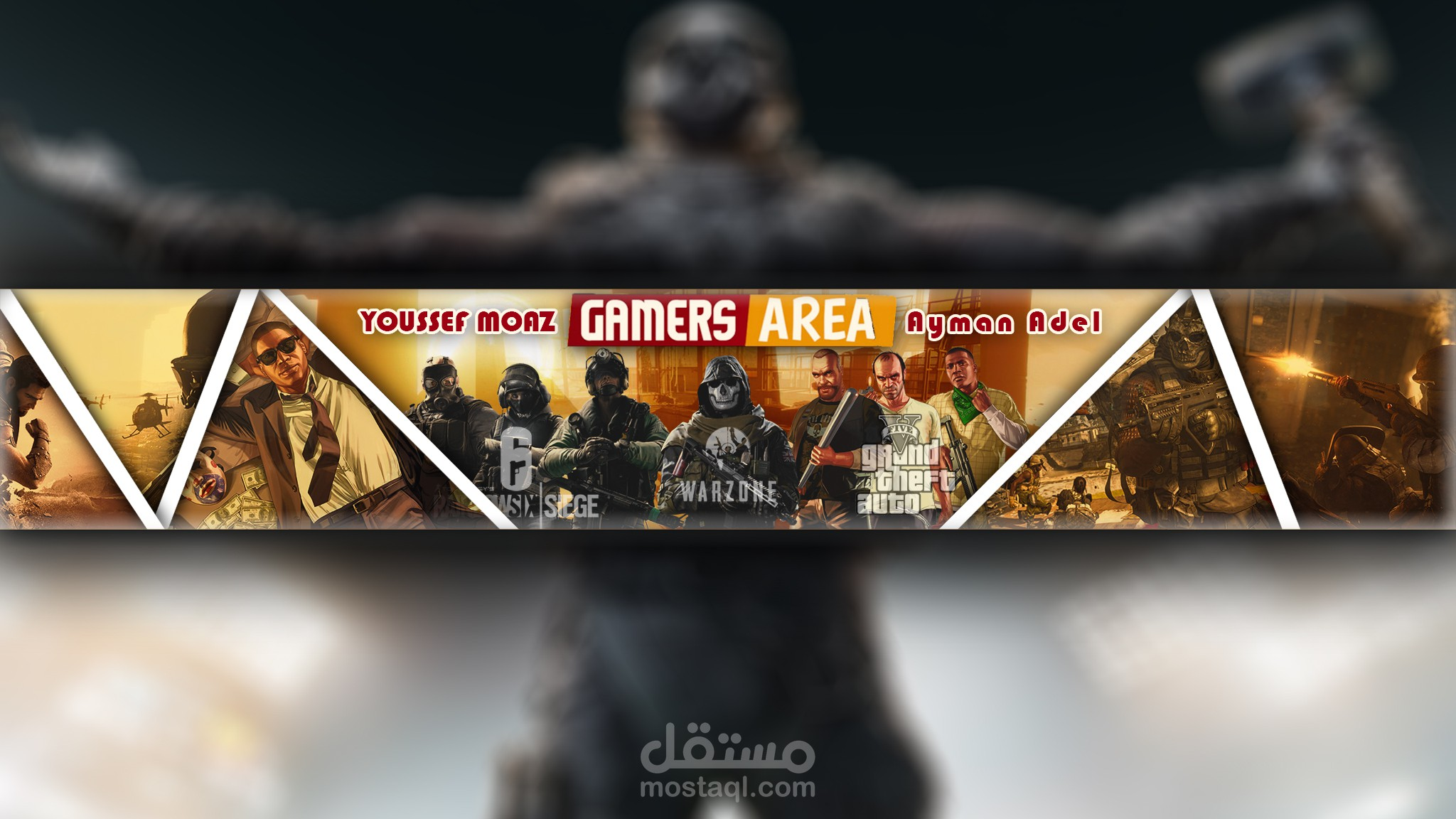 تصميمات لبعض بانرات اليوتيوب لقناة Gamers Area + لوجوز